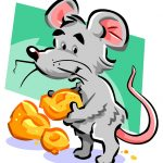 illustration of a mouse and its food