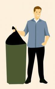 illustration of a man throwing garbage