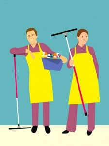 illustrations of cleaning service staffs