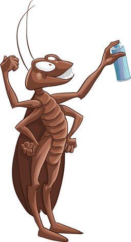 cockroach cartoon with spray can