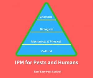 integrated pest management pyramid. From top to bottom chemical, biological, mechanical & physical, cultural