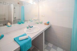 a bathroom in an apartment