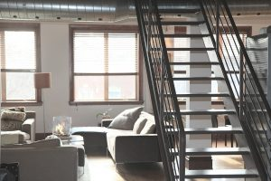 an apartment with stairs